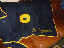 GRACE GUGENHEIM COLLEGE FOOTBALL SPORTS BLANKET YELLOW NAVY BLUE VARSITY WOOL