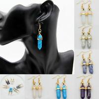 Women Vintage Stone Bead Hexagon Drop Earrings Natural Dangle Earrings Jewelry