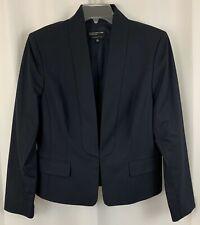 JONES NEW YORK Collection Stretch Navy Blue Blazer, Sleek No-Lapel Front Sz 14