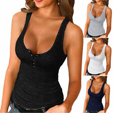 Women's Solid Casual Stretch Ribbed Slim Fit Camisole Tank Top Vest Sports Top