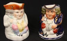 Two Antique Allertons Toby Mugs One Gold Lusterware