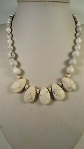 Lee Sands Wacky Friday White Howlite Faceted Teardrops & Pearls Cleo Necklace