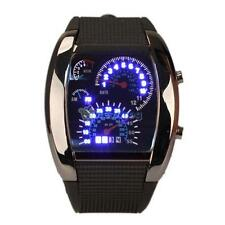 Luxury Sports RPM Turbo Blue Flash LED Car Speed Meter Dial Men Wrist Watch New