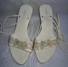 FIORELLA WOMENS  Cream Wedge  High Heels Strappy Sandals Size:3/36(WHS78)
