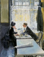 Oil painting gotthardt johann kuehl - amoureux au cafe young lovers in club art