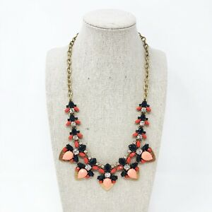 """J. Crew Gold-Tone Peach/Coral/Black Crystal Statement Necklace 18""""+ 3"""" Extender"""