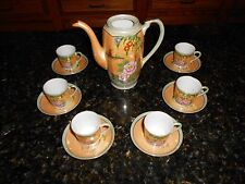JAPANESE Hand Painted Flora LUSTREWARE TEA Pot & Cups and Saucers 13 Piece Set