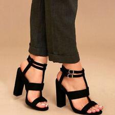 Womens Ladies Mid Block Heel Black Sandals Peep Toe Ankle Strap Work Shoes Size