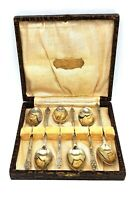 1900's antique silver plated set of 6 monk spoons in original box. Very nice set