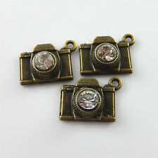19x Vintage Bronze Alloy Jewelry Making 18x15x8mm Camera Crystal Pendants Charms