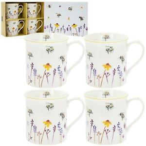 Set of 4 Colourful Busy Bees Fine China Mugs Flowers Presentation Gift Box