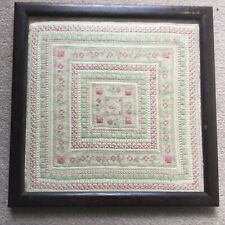 Antique Embroidered Quilt Square - Framed And Glazed