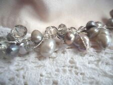 HANDCRAFTED GREY PEARL AND GLASS  CRYSTAL SILVER WIRE HAND MADE BRACELET PEARLS
