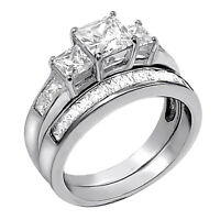 2 PCS  Women Princess Cut .925 Sterling Silver Wedding Engagement Rings Band Set