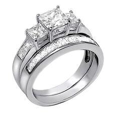 2 PCS  Women Princess Cut .925 Sterling Silver Wedding Engagement Rings Band Set