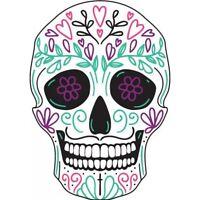 Tête mort skull couleur autocollant sticker adhesif 8 cm