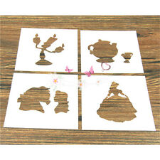4 Pcs Packed Girl Life Cookie Cake Stencil Decorate Mold Fondant Biscuit Tool