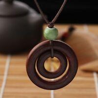 Keramik Braun Lange Seilkette Holz Halskette Doppelkreis Anhänger