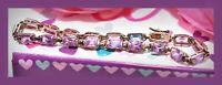 """❤️Ross Simons VTG 925 Sterling Silver 7.5"""" Purple Sapphire Tennis Bracelet 9 g❤️"""