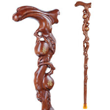 Chinese Rosewood Carved Walking Stick Cane Wooden Peach Gift
