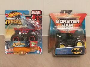 HOT WHEELS SPIDERMAN MONSTER TRUCK & BATMAN MONSTER JAM - BRAND NEW