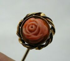 Fabulous Antique 15ct Gold And Large Coral Rose Pin