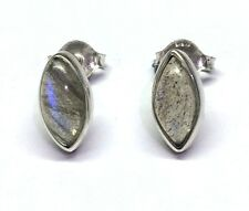 Handmade 925 Sterling Silver 11mm x 6mm Labradorite Marquise Pip Stud Earrings