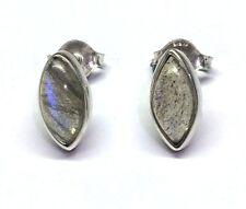 Handmade 925 Sterling Silver 11mm x 6mm Labradorite Marquise Pip Stud Earrings