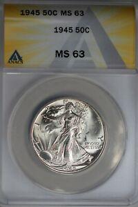 1945  .50   ANACS   MS 63   Walking Liberty, Half Dollar, Lady Liberty Half