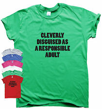 Funny womens mens t shirt slogan tee novelty humour top CLEVERLY DISGUISED ADULT