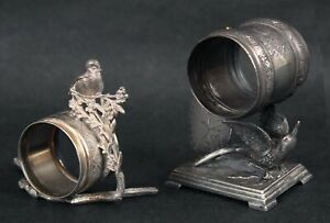 Antique Victorian Figural Silverplate Aesthetic Napkin Ring Holders, Meriden