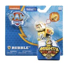 Paw Patrol Mighty Pups Rubble - Exclusive Figure with Light-up Badge and Paws