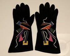 Carlos Falchi Handschuhe, Wildleder und Seide, Gr. 7.5