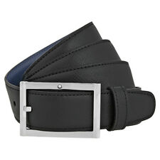 Montblanc Reversible Printed Leather Belt- Black / Indigo