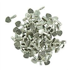 100 Pcs Heart Shape Tibetan Silver Glue-on Flat Pad Bails Settings Pendants