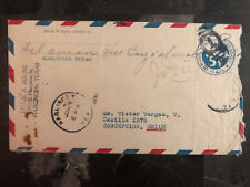 1931 Midland Texas to Concepcion Chile Crash cover Salvaged Mail w/letters
