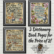 Alice in Wonderland Art Print - Home Decor Picture on Antique Dictionary
