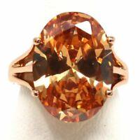Vintage Hand Carved Orange Citrine Ring Jewelry Gift Size 6 7 8 9 14K Rose Gold