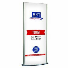 "Free Standing Light Up Stand, Double Sided, Advertising Display, 27X77"", Silver"