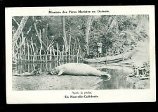 Pacific France Nouvelle-Caledonie animals Dugong Sea-Cow natives and boat PPC