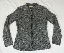 Michael Kors MK Leopard Print Button Shirt Size 8 Shear Cotton Black Career A1