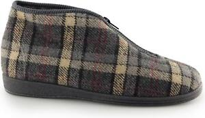 Sleepers JED II Mens Zip Up Checked Warm Thermal Cosy Bootee Slippers Grey