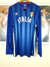 Italy National Team Soccer Football Blue Umbro Long Sleeve Jersey L