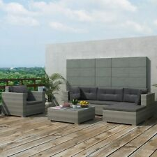 17 Pcs Garden Outdoor Sofa Set Poly Rattan Sectional Couch Patio Furniture Gray