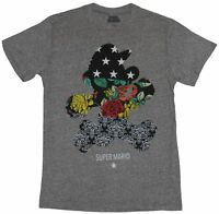Super Mario Brothers Mens T-Shirt - Mario Silhouette Floral Filled Image