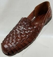 Nordstroms Mens Huarache Loafers Hand Woven Brown Leather Casual Shoes Size 12