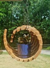 Unique Artistic Hanging Basket, Wood, Indoor or Outdoor
