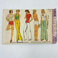 Vintage 1970s Simplicity Pattern 6354 Halter Top Hip Hugger Pants Shorts PT3