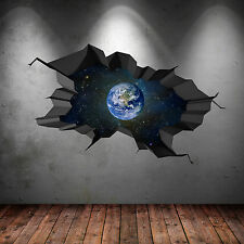 FULL COLOUR SPACE PLANET UNIVERSE GALAXY WORLD CRACKED 3D WALL ART STICKER DECAL