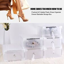 24X almacenamiento apilable cajón plástico caja de zapatos transparente CH